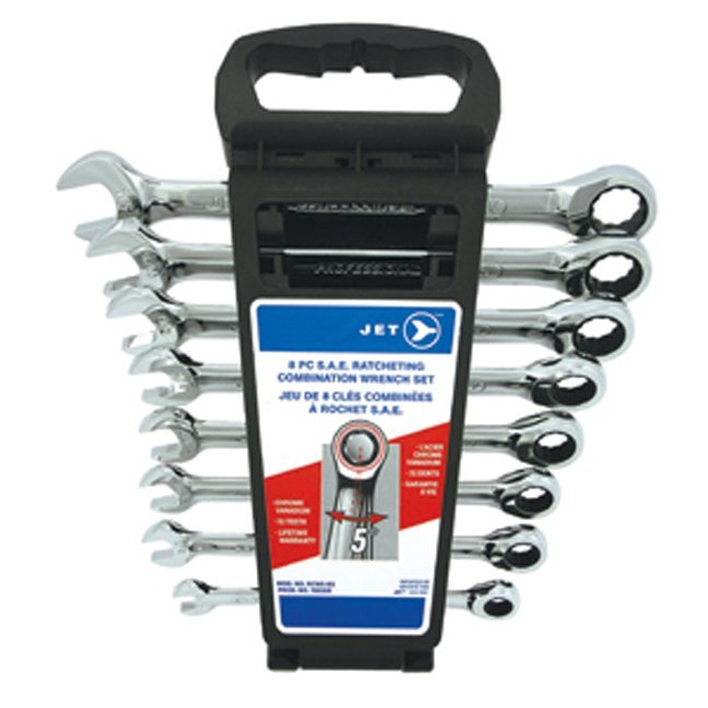 Jet 700308 8 PC Long SAE Ratcheting Combination Wrench Set
