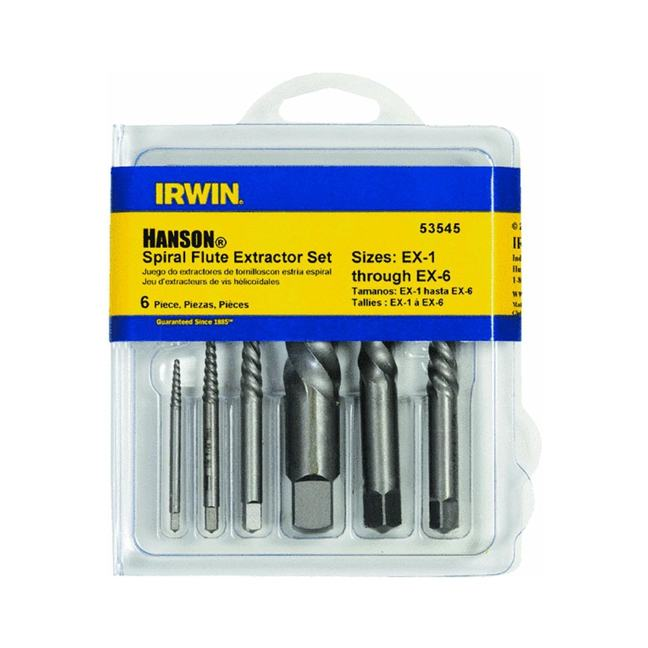 Irwin 53545 6PC Spiral Flute Screw Extractor Set