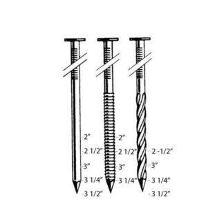 Bostitch F28WW Nail Sizing Chart