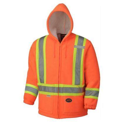 Pioneer 6920 Hi-Viz Orange Polyester Fleece Boa Lined Hoodie