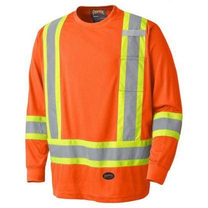 Pioneer 6995 Birdseye Hi-Viz Orange Safety Long-Sleeved Shirt