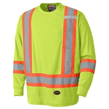 Pioneer 6996 Birdseye Hi-Viz Yellow Safety Long-Sleeved Shirt