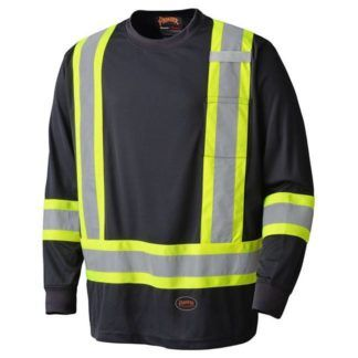 Pioneer 6997 Birdseye Black Safety Long-Sleeved Shirt