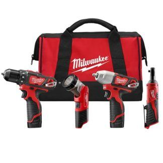 Milwaukee 2493-24 M12 Cordless 4-Tool Combo Kit