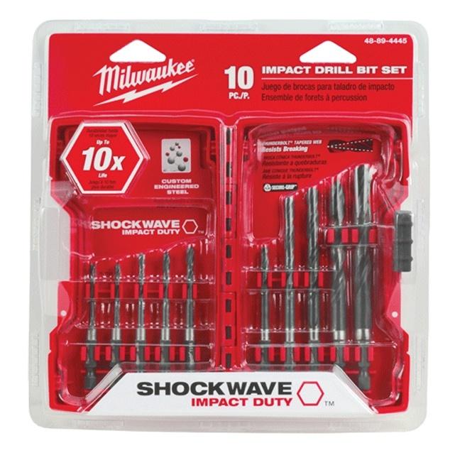 Milwaukee 48-89-4445 SHOCKWAVE Hex Drill Bit Set - 10 PC