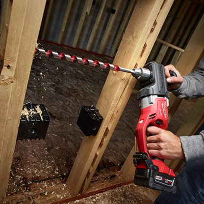 Milwaukee 2707-20 M18 FUEL HOLE HAWG Right Angle Drill In Use 2