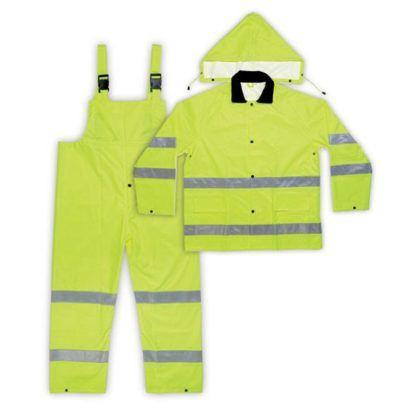 Kuny's R111 3-Piece ANSI Class 3 Polyester Rain Suit