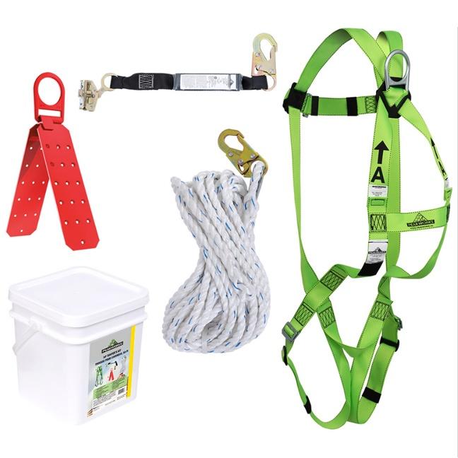 PeakWorks RK4-50 50ft Compliance Roofer's Kit w/Reusable Roof Bracket