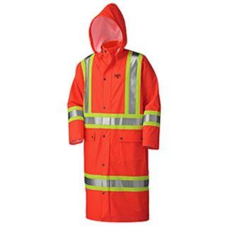Pioneer 5896 Flame Resistant PU Stretch Hi-Viz Long Rain Coat