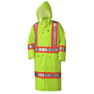 Pioneer 5897 Flame Resistant PU Stretch Hi-Viz Long Rain Coat