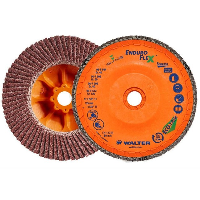 """Walter 06F512 5"""" 120G Enduro-Flex Flap Disc for Stainless"""