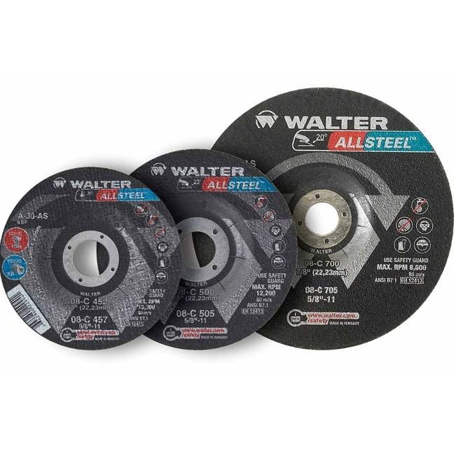 """Walter 08C500 5"""" Allsteel General Purpose Grinding Wheel"""