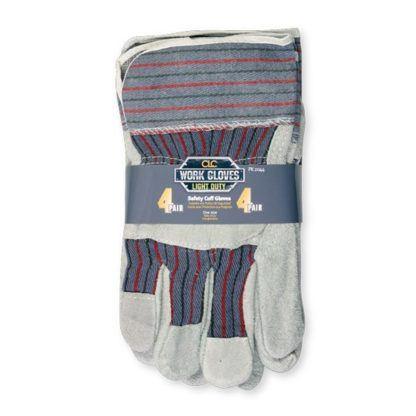 Kuny's PK2044 Split Cowhide Safety Cuff Work Gloves - 4pk