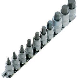 "Jet 601803 10 PC 3/8"" & 1/2"" DR Metric Hex Bit Socket Set"