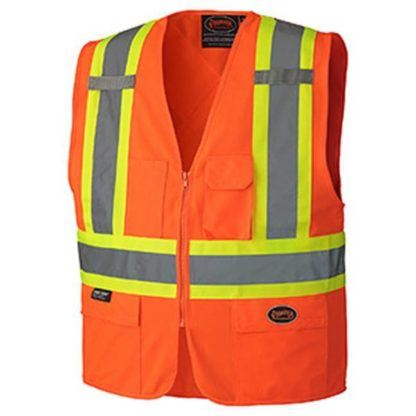 Pioneer 156 Hi-Viz Zipper Front Safety Vest with Snaps