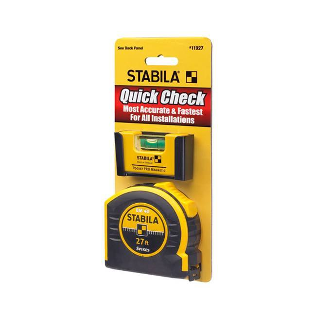 Stabila 11927 Quick Check Pocket Pro Level Plus 27ft Tape
