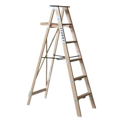 Sturdy Heavy Duty Wooden Step Ladder