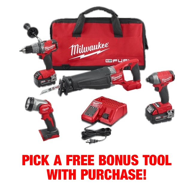 Milwaukee 2896-24 M18 Fuel 4-Tool Combo Kit FREE TOOL
