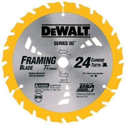 """DEWALT DW3582 8-1/4"""" 24T Carbide Thin Kerf Circular Saw Blade"""