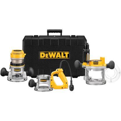 DeWalt DW618B3 2-1/4 HP Three Base Router Kit