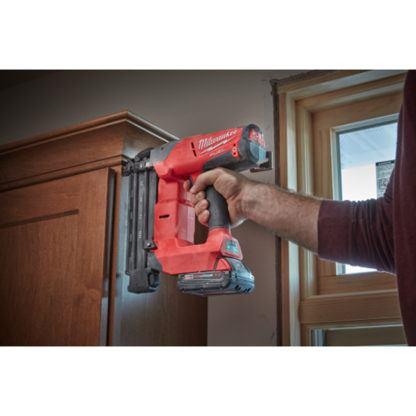 Milwaukee 2740-21CT M18 FUEL 18ga Brad Nailer Kit In Use 2