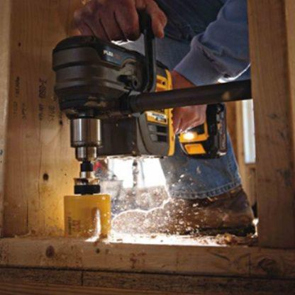 DeWalt FlexVolt 3T Wood Cutting Carbide Hole Saw In Use