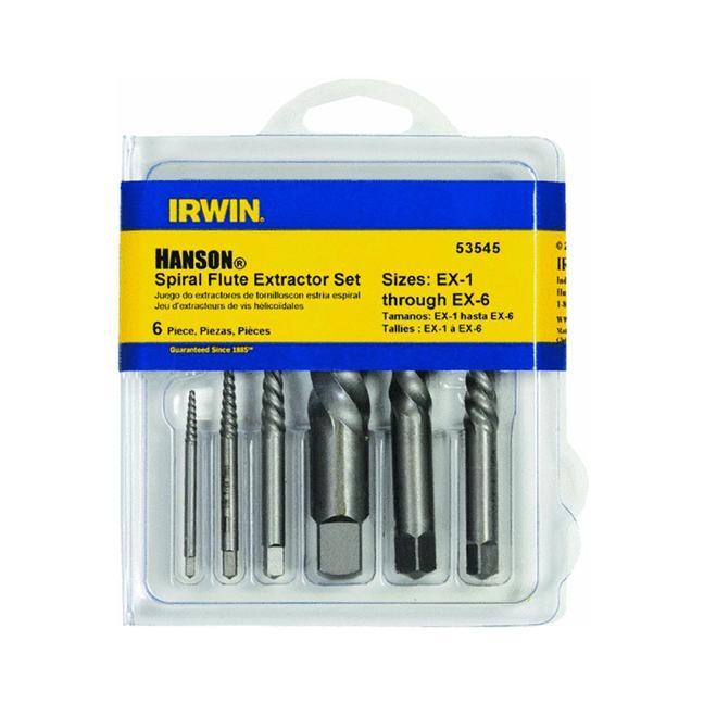 Irwin 53545 6PC Spiral Flute Screw Extractor Set