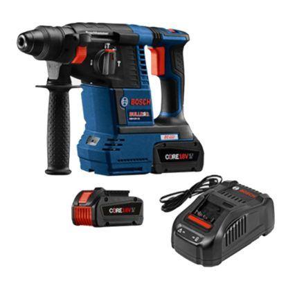 """Bosch GBH18V-26K24 18V EC Brushless 1"""" SDS-plus Bulldog Rotary Hammer Kit with CORE18V Batteries"""