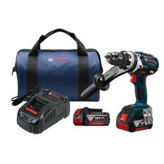 "Bosch HDH183-01 18V EC Brushless Brute Tough 1/2"" Hammer Drill Driver Kit"