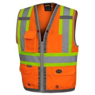 Pioneer 6672 Hi-Viz Mesh Back Zip Front Surveyor's Vest