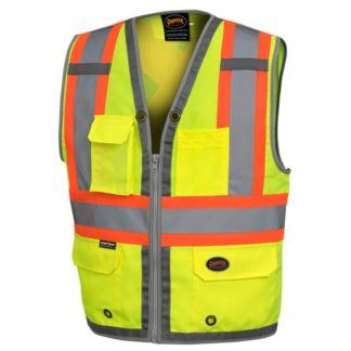 Pioneer 6673 Hi-Viz Mesh Back Zip Front Surveyor's Vest
