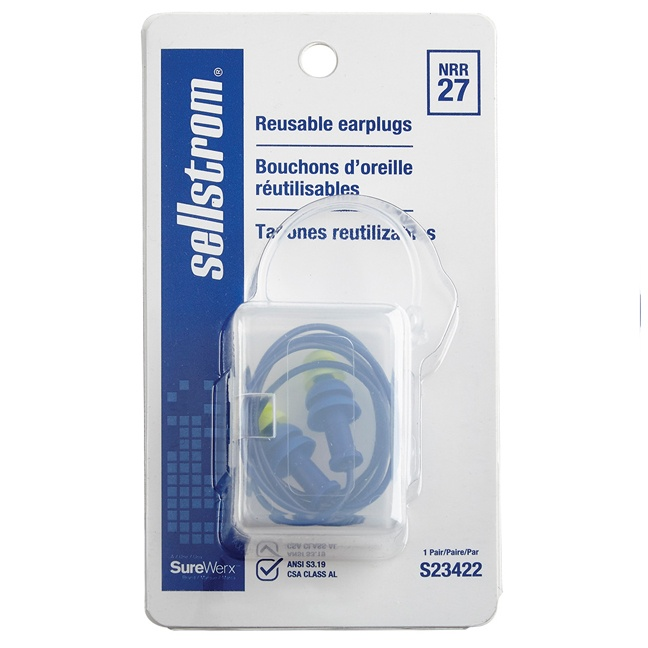 Sellstrom S23422 Tapered Reusable Ear Plugs - 1 Pair