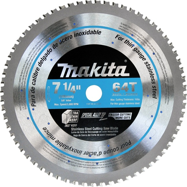 Makita A 95875 7 1 4 Quot 64t Cermet Tipped Stainless Steel