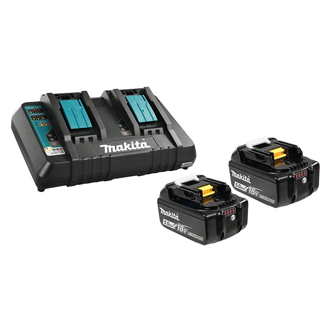 Makita Y-00359 18V x 2 5.0Ah Battery & Dual-Port Charger Kit