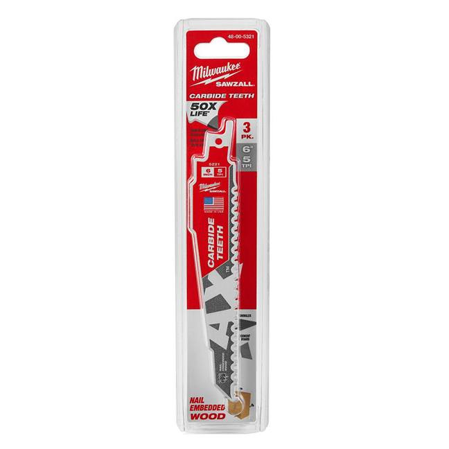 "Milwaukee 48-00-5321 6"" Carbide Teeth Sawzall The Ax Blade 3-Pack"