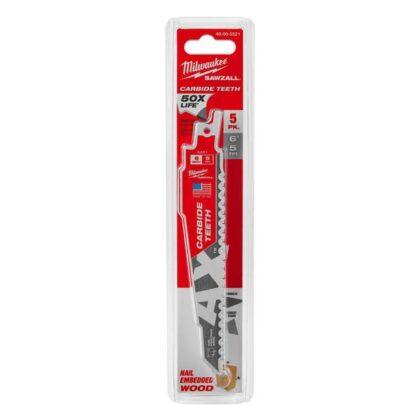 "Milwaukee 48-00-5521 6"" Carbide Teeth Sawzall The Ax Blade 5-Pack"