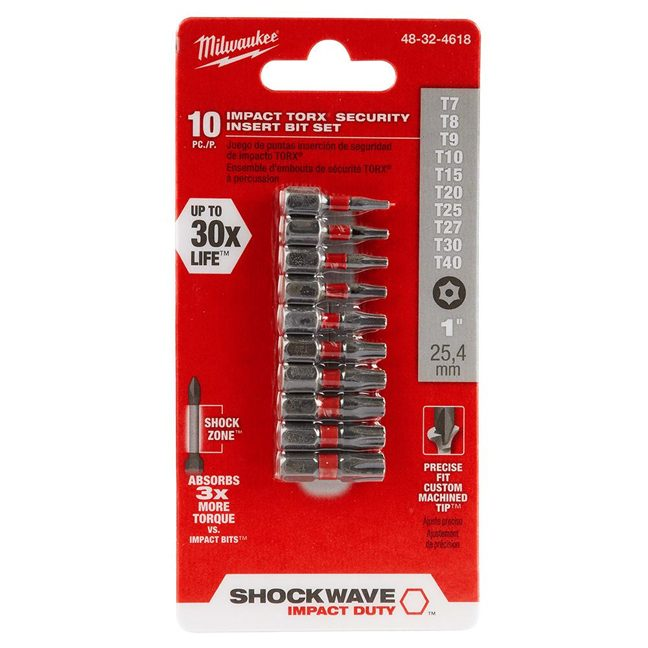 Milwaukee 48-32-4618 10PK SHOCKWAVE TORX Security Insert Bit Set