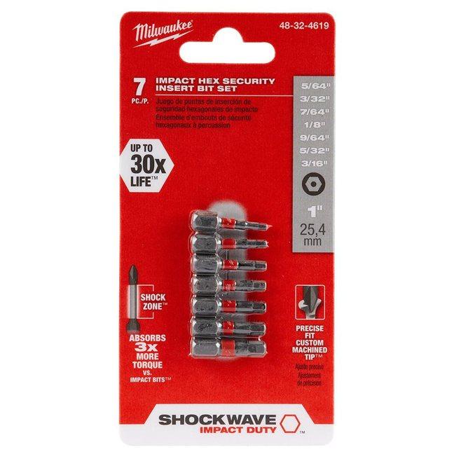 Milwaukee 48-32-4619 7PK SHOCKWAVE Hex Security Insert Bit Set