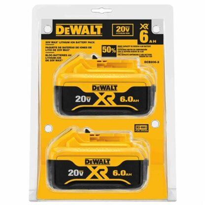 DeWalt DCB206-2 20V MAX Premium XR 6.0Ah Battery Pack 2 Pack