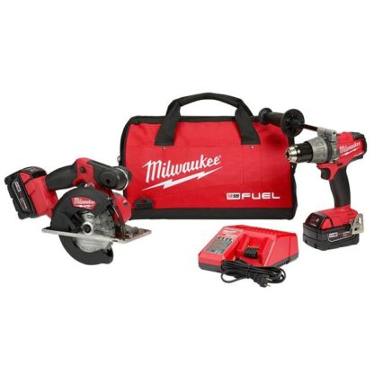 Milwaukee 2898-22 M18 FUEL Hammer Drill and Metal Cutting Circular Saw Combo Kit