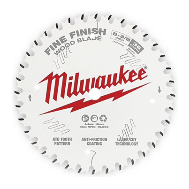 "Milwaukee 48-40-0524 5-3/8"" 36T Fine Finish Circular Saw Blade"