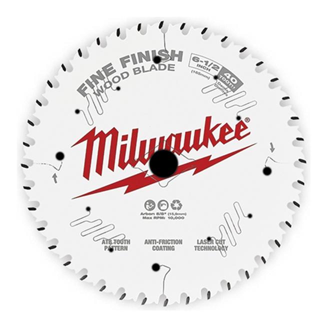 "Milwaukee 48-40-0622 6-1/2"" 40T Fine Finish Circular Saw Blade"