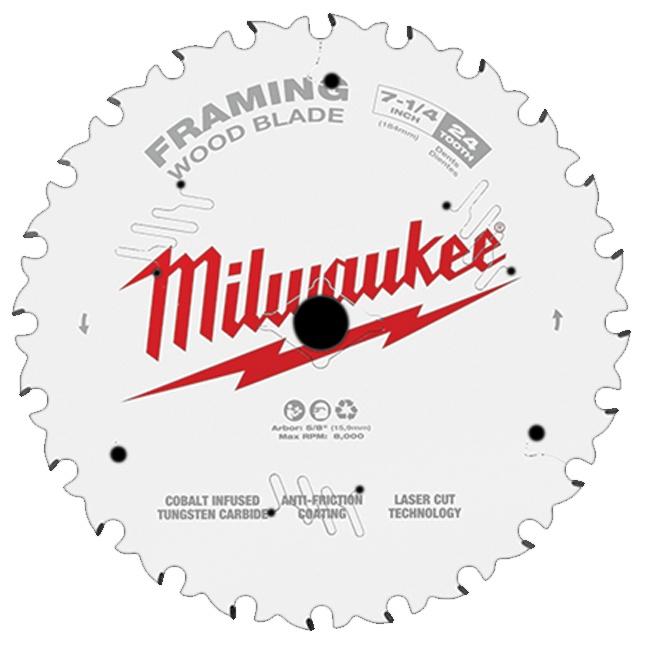 """Milwaukee 48-40-0720 7-1/4"""" 24T Framing Circular Saw Blade"""
