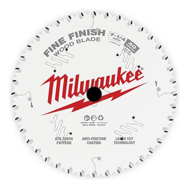 "Milwaukee 48-40-0726 7-1/4"" 40T Fine Finish Circular Saw Blade"