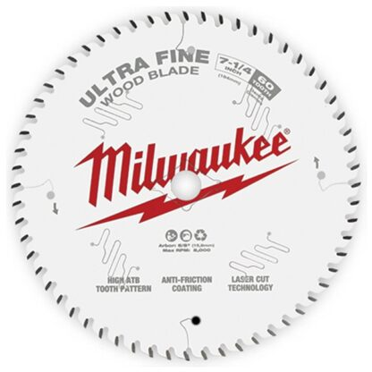 "Milwaukee 48-40-0730 7-1/4"" 60T Ultra Fine Finish Circular Saw Blade"
