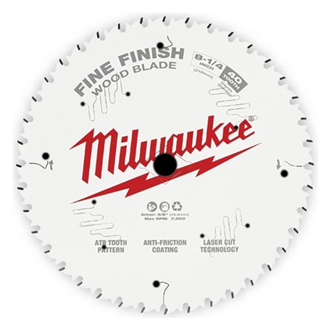 "Milwaukee 48-40-0822 8-1/4"" 40T Fine Finish Circular Saw Blade"