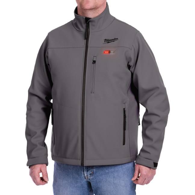 Men's Zipper Front Heated Hoodie W// Front /& Back Heating Elements Gray MPM1713