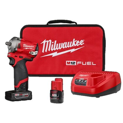 "Milwaukee 2554-22 M12 FUEL 3/8"" Stubby Impact Wrench Kit"