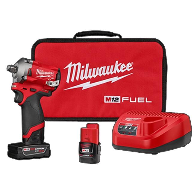 "Milwaukee 2555-22 M12 FUEL 1/2"" Stubby Impact Wrench Kit"