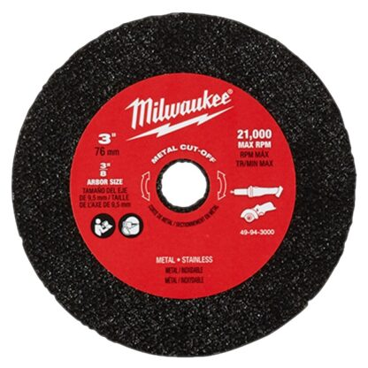 "Milwaukee 49-94-3000 3"" Metal Cut Off Wheel 3PK"
